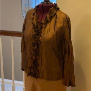 Vintage 90s Color Works Blouse ruffled neckline